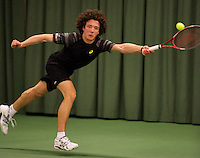 Rotterdam, The Netherlands, 15.03.2014. NOJK 14 and 18 years ,National Indoor Juniors Championships of 2014, Final boys 18 years Casper Bonapart (NED)<br /> Photo:Tennisimages/Henk Koster