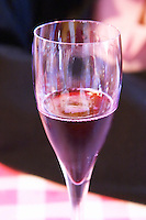 a glass of Brut nature Negro red sparkling wine. Bodega Pisano Winery, Progreso, Uruguay, South America