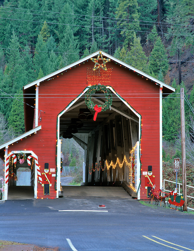 Office Bridge with Christmas lights. Westfir, Oregon