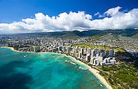 Aerial of Waikiki Beach, Waikiki, Oahu