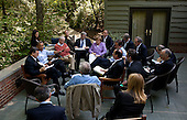 United States President Barack Obama meets with Eurozone leaders on the Laurel Cabin patio during the G8 Summit at Camp David, Maryland, May 19, 2012. .Mandatory Credit: Pete Souza - White House via CNP