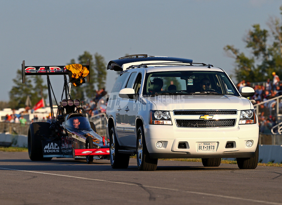 Aug. 16, 2013; Brainerd, MN, USA: Tow vehicle for NHRA top fuel dragster driver Steve Torrence during qualifying for the Lucas Oil Nationals at Brainerd International Raceway. Mandatory Credit: Mark J. Rebilas-