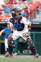 Buffalo Bisons catcher Salomon Manriquez #16 during a game against the Syracuse Chiefs at Coca-Cola Field on September 1, 2011 in Buffalo, New York.  Syracuse defeated Buffalo 6-2.  (Mike Janes/Four Seam Images)