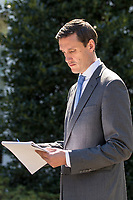 Homeland Security Advisor Tom Bossert reads his notes as he prepares to speak with the media about Hurricane Maria's impact on Puerto Rico outside the West Wing of the White House in Washington, DC on Thursday, September 28, 2017. <br /> Credit: Alex Edelman / CNP /MediaPunch