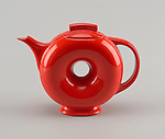 Doughnut Teapot And Lid, ca. 1940; Manufactured by Hall China Company (United States); USA; molded and glazed earthenware; Museum purchase from Decorative Arts Association Acquisition Fund; 1984-90-1-a,b.