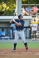 Juan Yepez (15) of the Danville Braves at bat against the Burlington Royals at Burlington Athletic Park on August 13, 2015 in Burlington, North Carolina.  The Braves defeated the Royals 6-3. (Brian Westerholt/Four Seam Images)