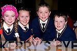 THINKING: Thinking of the answers at the Tralee Credit Union National School Table Quiz on Sunday in the Brandon Hotel, Tralee, were pupils from Knocknagoshel N.S.L-r: Sarah Cussack, Charlotte Collins, Daragh O'Connell and Freddy Browne................