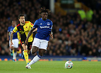 29th October 2019; Goodison Park, Liverpool, Merseyside, England; English Football League Cup, Carabao Cup Football, Everton versus Watford; Moise Kean of Everton races forward with the ball - Strictly Editorial Use Only. No use with unauthorized audio, video, data, fixture lists, club/league logos or 'live' services. Online in-match use limited to 120 images, no video emulation. No use in betting, games or single club/league/player publications