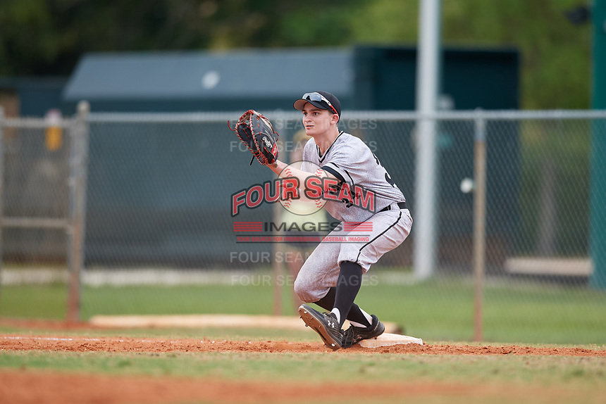Edgewood Eagles first baseman Paul Cappetta (34) during the first game of a double header against the Bethel Wildcats on March 15, 2019 at Terry Park in Fort Myers, Florida.  Bethel defeated Edgewood 6-0.  (Mike Janes/Four Seam Images)