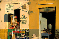 "Egypt, 2000 -  An Egyptian store cleverly advertises its advantages. ""The Cheap Shop in Town."""