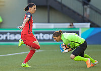 Portland, OR - Wednesday June 28, 2017: Christine Sinclair, Nicole Barnhart during a regular season National Women's Soccer League (NWSL) match between the Portland Thorns FC and FC Kansas City at Providence Park.