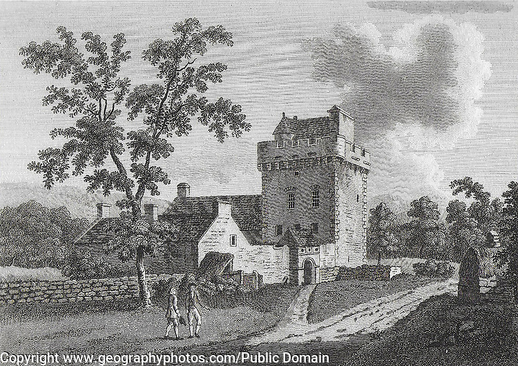 Engraving of Scottish landscapes and buildings from late eighteenth century,The Hills Tower, Scotland, 1789 , drawn by S Hooper