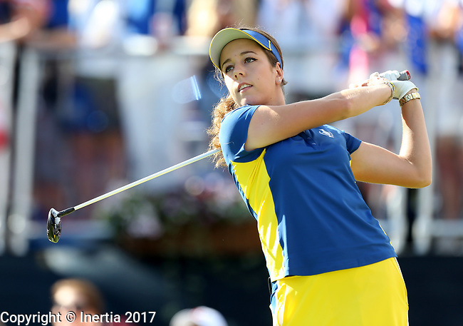 DES MOINES, IA - AUGUST 20: Europe's Georgia Hall watches her tee shot on the first hole during her singles match Sunday morning at the 2017 Solheim Cup in Des Moines, IA. (Photo by Dave Eggen/Inertia)