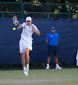 June 13th 2017, Nottingham, England; ATP Aegon Nottingham Open Tennis Tournament day 4;  A forehand from Alex De Minaur of Australia in his match against Bryden Klein of Great Britain