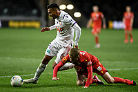 30th July 2020; Bankwest Stadium, Parramatta, New South Wales, Australia; A League Football, Adelaide United versus Perth Glory; Ben Halloran of Adelaide United goes to ground as Dane Ingham of Perth Glory breaks away from the challenge
