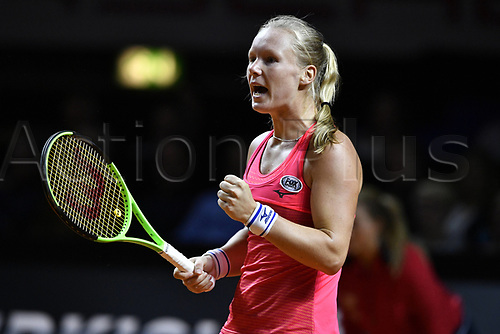 April 25th 2017. Stuttgart, Germany; Porsche Grand Prix womens tennis tournament;  Kiki Bertens (NED) celebrates a point against
