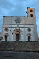 The church in the main place of Todi, the ancient Duomo dell'Annunciata (cathedral of the Announced) in piazza del Popolo (place of the People), in the early morning. Digitally Improved Photo.