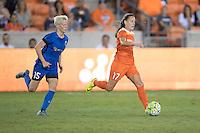 Houston, TX - Sunday Sept. 25, 2016: Megan Rapinoe, Andressa Machry during a regular season National Women's Soccer League (NWSL) match between the Houston Dash and the Seattle Reign FC at BBVA Compass Stadium.