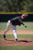 San Francisco Giants Black relief pitcher Norwith Gudino (67) follows through on his delivery during an Extended Spring Training game against the Los Angeles Angels at the San Francisco Giants Training Complex on May 25, 2018 in Scottsdale, Arizona. (Zachary Lucy/Four Seam Images)