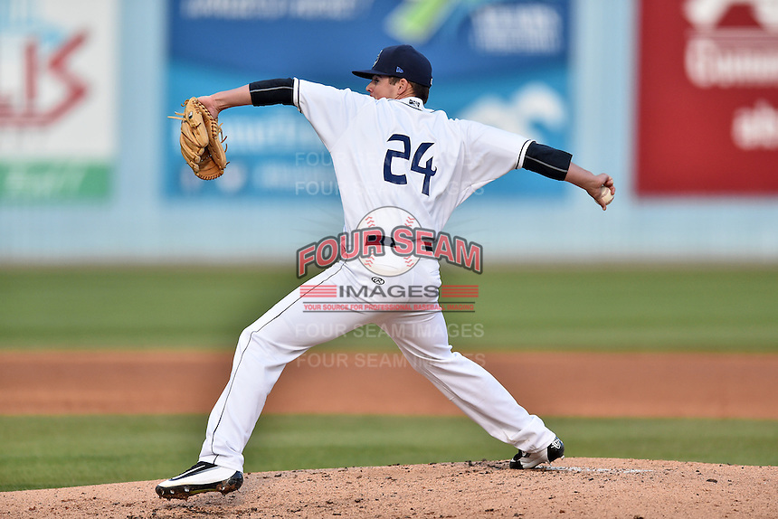 Asheville Tourists starting pitcher Peter Lambert (24) delivers a pitch during a game against the Lexington Legends at McCormick Field on April 20, 2016 in Asheville, North Carolina. The Tourists defeated the Legends 10-0. (Tony Farlow/Four Seam Images)