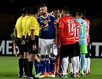 BOGOTA - COLOMBIA – 17 - 04 - 2018: Los jugadores de Millonarios (COL) y Deportivo Lara (VEN), durante partido entre Millonarios (COL) y Deportivo Lara (VEN), de la fase de grupos, grupo G, fecha 3 de la Copa Conmebol Libertadores 2018, en el estadio Nemesio Camacho El Campin, de la ciudad de Bogota. / The players of Millonarios (COL) and Deportivo Lara (VEN), during a match between Millonarios (COL) and Deportivo Lara (VEN), for the second phase, key1, of the Conmebol Copa Libertadores Bridgestone 2017 in the Nemesio Camacho El Campin stadium in Bogota city. VizzorImage / Luis Ramirez / Staff.