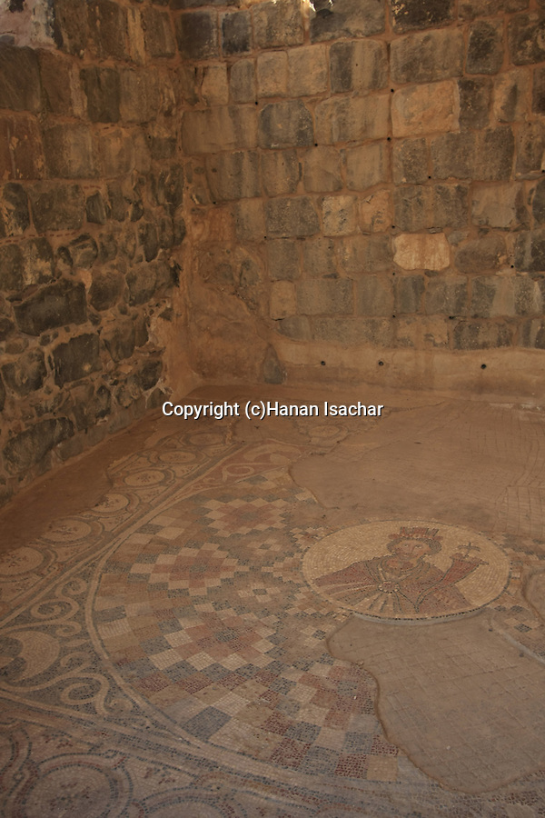 Israel, Beth Shean valley. A mosaic depicting Tyche the guardian Goddess of the city