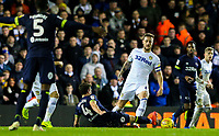 Leeds United's Liam Cooper tackles Derby County's Craig Bryson<br /> <br /> Photographer Alex Dodd/CameraSport<br /> <br /> The EFL Sky Bet Championship -  Leeds United v Derby County - Friday 11th January 2019 - Elland Road - Leeds<br /> <br /> World Copyright &copy; 2019 CameraSport. All rights reserved. 43 Linden Ave. Countesthorpe. Leicester. England. LE8 5PG - Tel: +44 (0) 116 277 4147 - admin@camerasport.com - www.camerasport.com