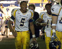 WVU quarterback Pat White (5) and running back  Steve Slaton (10) walk back to the locker room after the victory.  The West Virginia Mountaineers defeated the Pitt Panthers 45-27 on November 16, 2006 at Heinz Field, Pittsburgh, Pennsylvania.