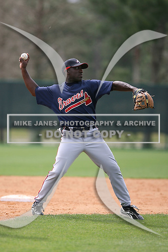 March 22nd 2008:  Travis Jones of the Atlanta Braves minor league system during a Spring Training camp day at Disney's Wide World of Sports in Orlando, FL.  Photo by:  Mike Janes/Four Seam Images