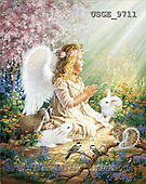 Dona Gelsinger, CHILDREN, paintings, angel, white rabbit(USGE9711,#K#) Kinder, niños, illustrations, pinturas angels, ,everyday