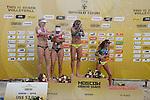 31.05.2015, Moskau, Vodny Stadion<br /> Moskau Grand Slam, Siegerehrung<br /> <br /> Sektdusche / Feature<br /> Madelein Meppelink (#2 NED), Marleen van Iersel (#1 NED), Larissa Franca (#1 BRA), Talita Antunes (#2 BRA)<br /> <br />   Foto © nordphoto / Kurth
