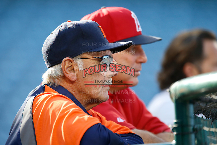 Detroit Tigers Manager Jim Leyland #10 talks with Los Angeles Angels Manager Mike Scioscia before a game against the Angels at Angel Stadium on April 19, 2013 in Anaheim, California. (Larry Goren/Four Seam Images)