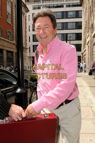 ALAN TITCHMARSH.Leaving at BBC Radio 2, London, England..July 20th, 2011.half length beige trousers pink shirt check brown suitcase briefcase .CAP/IA.©Ian Allis/Capital Pictures.