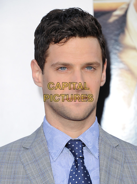 """Justin Bartha.""""The Hangover Part III"""" Los Angeles Premiere held at the Westwood Village Theater, Los Angeles, California, USA..May 20th, 2013.headshot portrait blue shirt tie grey gray suit  check.CAP/DVS.©DVS/Capital Pictures"""