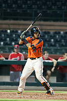 AZL Giants catcher Ricardo Genoves (15) bats during a game against the AZL Angels on July 10, 2017 at Scottsdale Stadium in Scottsdale, Arizona. AZL Giants defeated the AZL Angels 3-2. (Zachary Lucy/Four Seam Images)