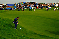 Tyrrell Hatton (Team Europe) on the 8th during the friday fourball at the Ryder Cup, Le Golf National, Iles-de-France, France. 28/09/2018.<br /> Picture Fran Caffrey / Golffile.ie<br /> <br /> All photo usage must carry mandatory copyright credit (© Golffile | Fran Caffrey)
