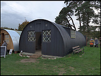 BNPS.co.uk (01202 558833)Pic:  GeorgeNissen/BNPS<br /> WW1 huts at the Chiltern Open Air Museum.<br /> <br /> A relative of the First World War engineer who invented the famous Nissen Hut has redesigned it for 21st century use as a trendy garden office.<br /> <br /> George Nissen's great, great grandfather Peter Nissen designed the prefabricated semi-circular structures that were widely used in both world wars.<br /> <br /> Made from corrugated iron, the huts could be thrown up in quick time without the need for foundations and put to military use, mainly as barracks.<br /> <br /> Now over 100 years since they were invented, the great-grandson of Major Nissen has taken out a new patent for the Nissen Hut.