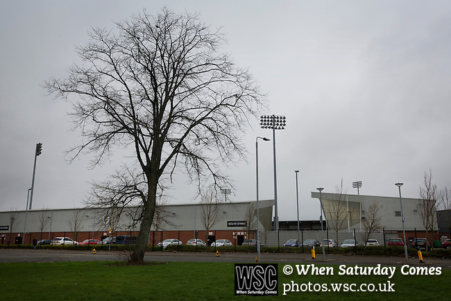St Mirren 4 The New Saints 1, 19/02/2017. Paisley 2021 Stadium, Scottish Challenge Cup. A view of the exterior of the Paisley2021 Stadium opened in 2009, pictured before Scottish Championship side St Mirren played Welsh champions The New Saints in the semi-final of the Scottish Challenge Cup for the right to meet Dundee United in the final. The competition was expanded for the 2016-17 season to include four clubs from Wales and Northern Ireland as well as Scottish Premier under-20 teams. Despite trailing at half-time, St Mirren won the match 4-1 watched by a crowd of 2044, including 75 away fans. Photo by Colin McPherson.