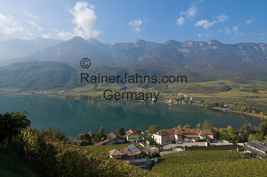 Italy, South tyrol (Alto Adige) Caldaro at the Wine Route: Kalterer Lake or Lago di Caldaro at the South Tyrolean Wine Route