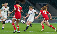 La Toya Mason kicks the ball, England Women v Canada Women in an Old Mutual Wealth Series, Autumn International match at Twickenham Stadium, London, England, on 26th November 2016. Full time score 39-6