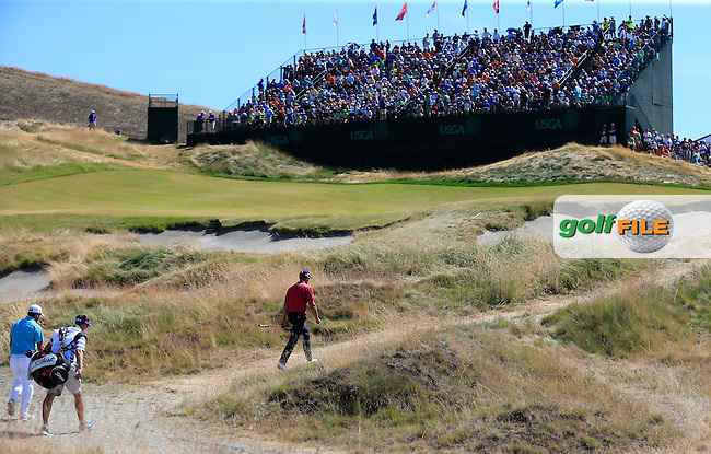 Henrik STENSON (SWE) walks to the 9th green during Saturday's Round 3 of the 2015 U.S. Open 115th National Championship held at Chambers Bay, Seattle, Washington, USA. 6/20/2015.<br /> Picture: Golffile | Eoin Clarke<br /> <br /> <br /> <br /> <br /> All photo usage must carry mandatory copyright credit (&copy; Golffile | Eoin Clarke)