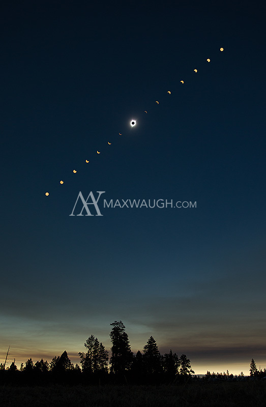 A wide angle composite, showing the sequence of the 2017 solar eclipse.  This composite is a combination of several images.  I shot the entire sequence wide, but there was a lot of distortion in the sun, so I inserted photos taken with a longer lens in the same spot as the corresponding shots taken wide.  This sequence showing the partial stages in a filtered yellow color, but I left totality in its unfiltered, natural state.