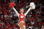 MADISON, WI - NOVEMBER 8: A cheerleader of the Wisconsin Badgers performs during the game against the Carroll College Pioneers at the Kohl Center on November 8, 2006 in Madison, Wisconsin. The Badgers beat the Pioneers 81-61. (Photo by David Stluka)