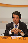 The President of FAES foundation (foundation for the analysis and social studies), José María Aznar, has closed the ninth edition of Campus FAES, which took place in the town of Navacerrada, Madrid.July 7,2012. (ALTERPHOTOS/Alberto Simon)