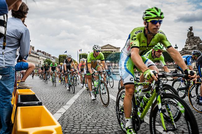 Peloton with Niki Terpstra (NED) of Omega Pharma - Quick-Step, Tour de France, Stage 21: Évry > Paris Champs-Élysées, UCI WorldTour, 2.UWT, Paris Champs-Élysées, France, 27th July 2014, Photo by Pim Nijland