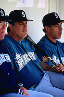 OAKLAND, CA - Manager Lou Piniella sits in the dugout during a game against the Oakland Athletics at the Oakland Coliseum in Oakland, California in 1994. (Photo by Brad Mangin)