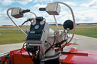 Foam gun turret of airport fire appliance parked on the runway awaiting call. This image may only be used to portray the subject in a positive manner..©shoutpictures.com..john@shoutpictures.com