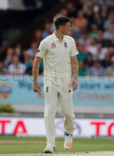26th August 2017, Headingley, Leeds, England; International Test Match Series, Day 2; England versus West Indies; Chris Woakes of England
