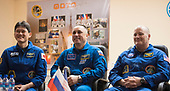 Expedition 54 prime crew members flight engineer Norishige Kanai of Japan Aerospace Exploration Agency (JAXA), left, Soyuz Commander Anton Shkaplerov of Roscosmos, center, and flight engineer Scott Tingle of NASA during a press conference, Saturday, December 16, 2017 at the Cosmonaut Hotel in Baikonur, Kazakhstan. Kanai, Shkaplerov, and Tingle are scheduled to launch to the International Space Station aboard the Soyuz spacecraft from the Baikonur Cosmodrome on December 17.  <br /> Mandatory Credit: Joel Kowsky / NASA via CNP