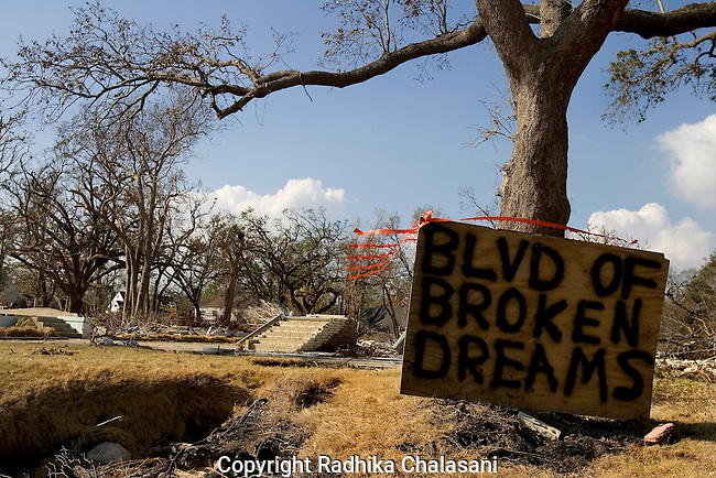 Bay St. Louis, Mississippi - October 2: A local resident makes his feelings known along the devastated beachfront where little remained in the wake of  Hurricane Katrina October 2, 2005 in Bay St. Louis, Mississippi. (Photo by Radhika Chalasani)
